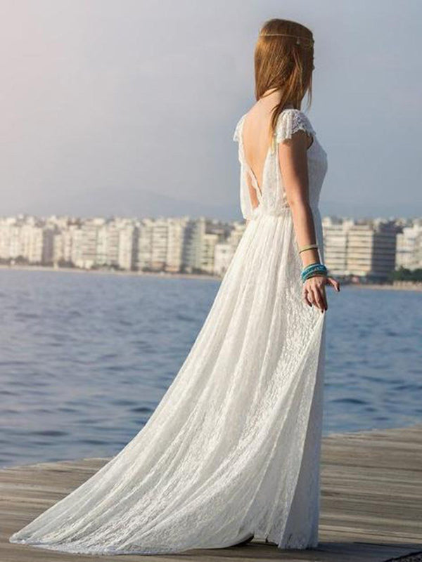 V-Neck Pearl A-Line Cap Sleeves Beach Wedding Dress