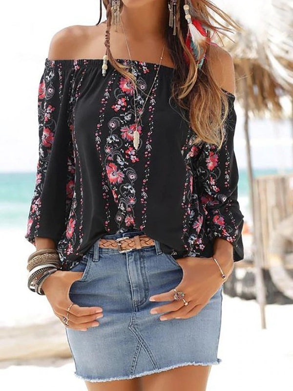 Off Shoulder Floral Standard Long Sleeve Blouse