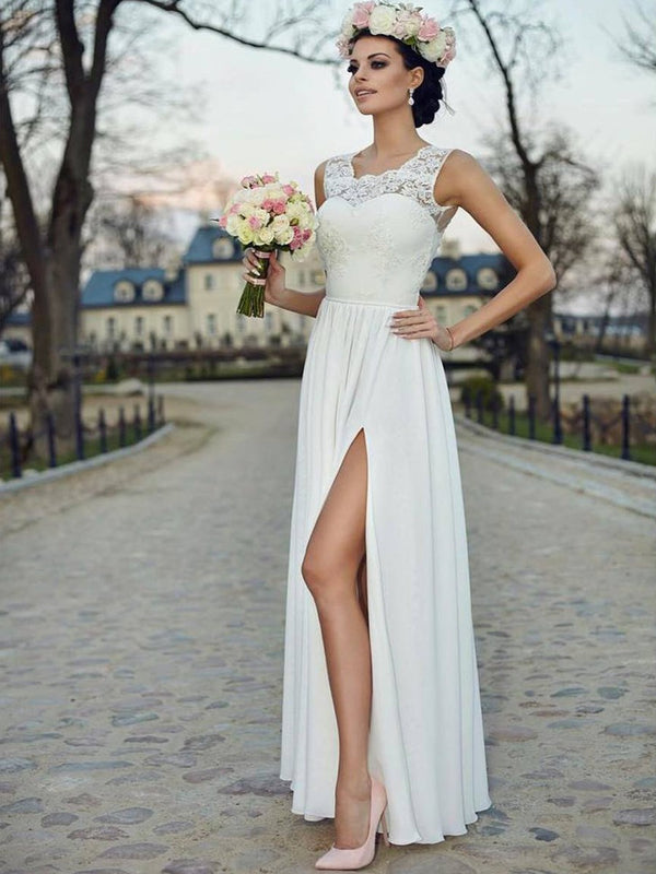 Floor-Length Straps Sleeveless Appliques Beach Wedding Dress
