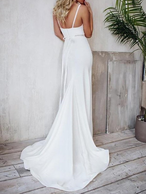 Spaghetti Straps Beading Trumpet/Mermaid Sweep/Brush Hall Wedding Dress