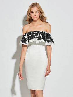 Appliques Sheath/Column Knee-Length Off-The-Shoulder Cocktail Dress