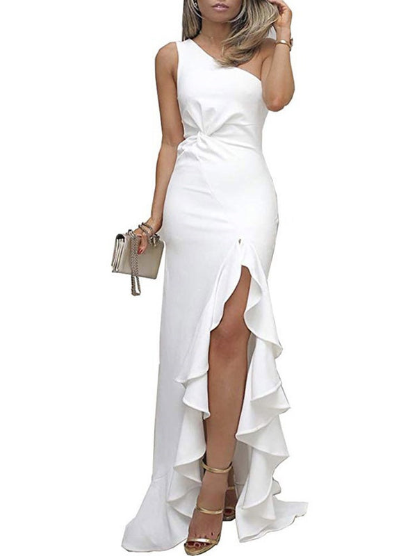 Ankle-Length Sleeveless Falbala Bodycon High Waist Dress