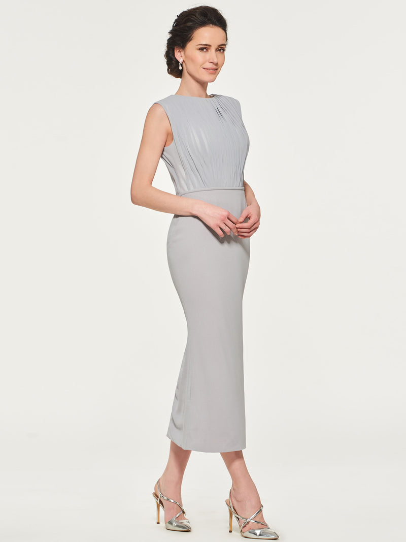 Pleats Sheath/Column Sleeveless Tea-Length Wedding Party Dress