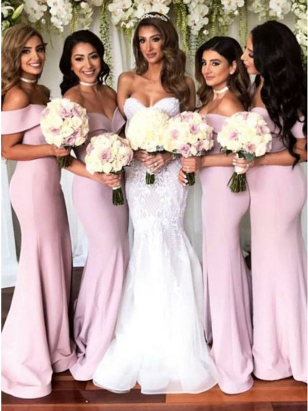 Split-Front Floor-Length Sleeveless Off-The-Shoulder Wedding Party Dress
