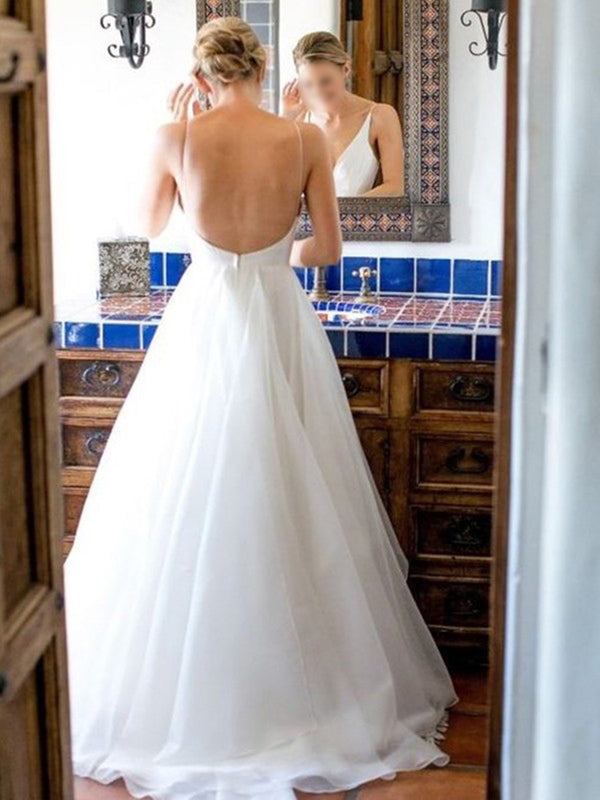 V-Neck Sweep/Brush A-Line Sleeveless Hall Wedding Dress