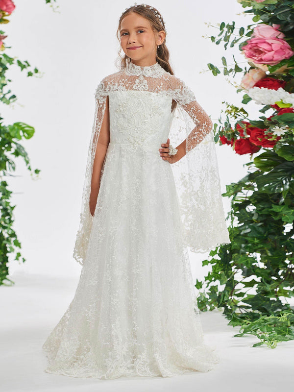 High Neck Floor-Length Spring Appliques Flower Girl Dress