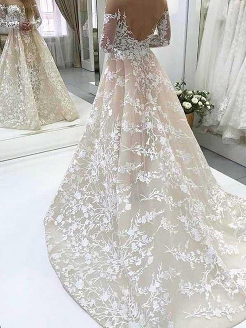 Court Long Sleeves Appliques A-Line Church Wedding Dress