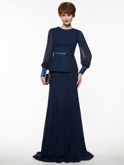 Sheath/Column Floor-Length Long Sleeves Sweep/Brush Wedding Party Dress
