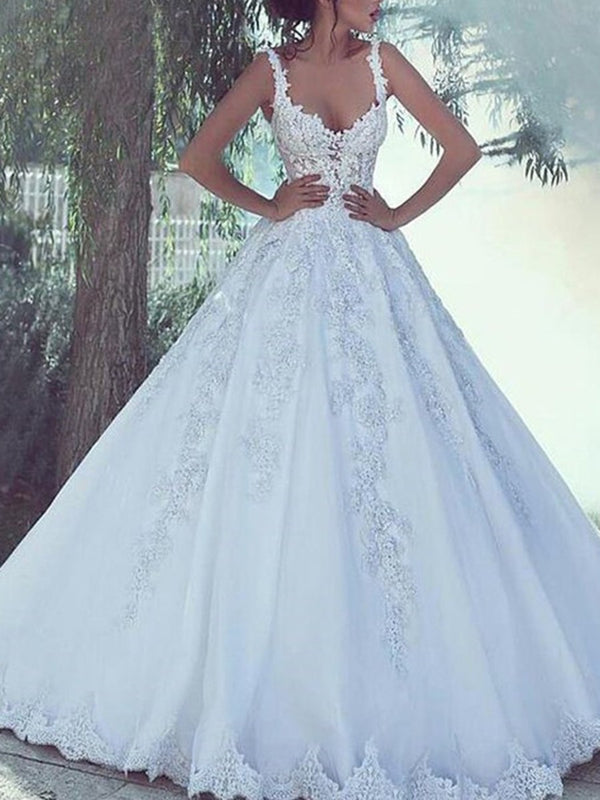 Sleeveless Appliques Sweep/Brush Ball Gown Garden/Outdoor Wedding Dress