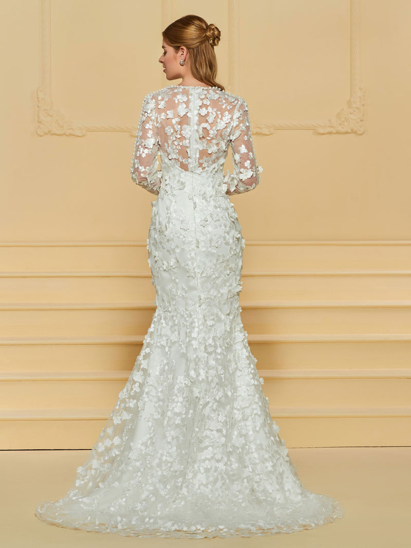 V-Neck Court Lace Floor-Length Church Wedding Dress