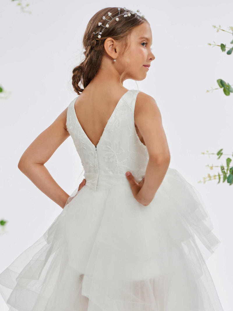 V-Neck Sleeveless Fall Ball Gown Flower Girl Dress