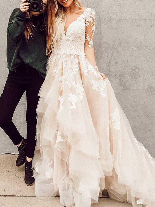 Floor-Length V-Neck Cascading Ruffles A-Line Garden/Outdoor Wedding Dress