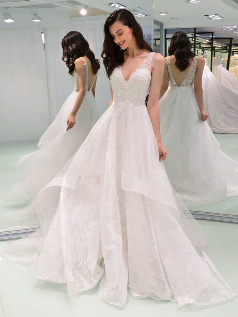 Floor-Length V-Neck A-Line Sleeveless Hall Wedding Dress