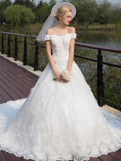 Short Sleeves Off-The-Shoulder Chapel Ball Gown Hall Wedding Dress