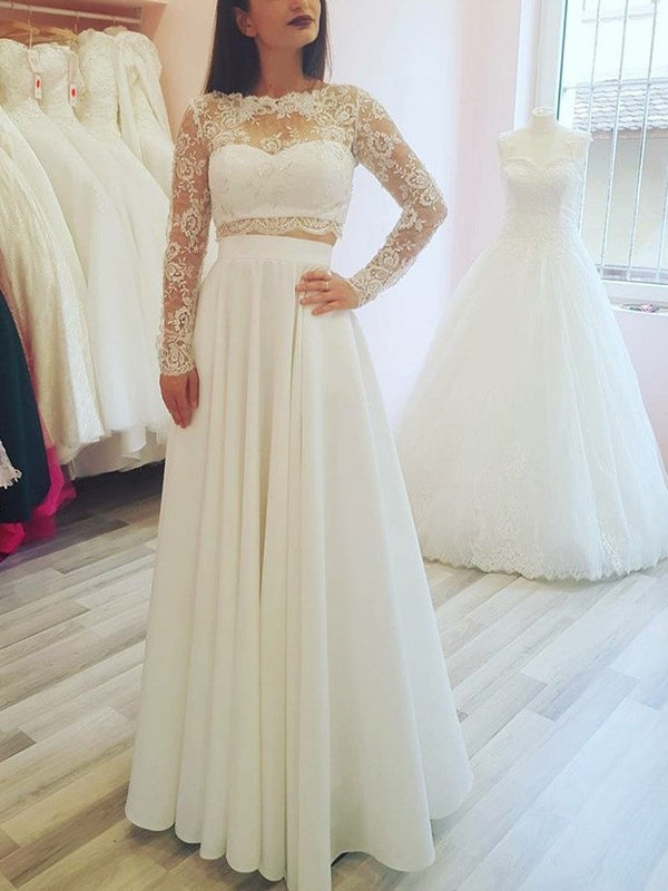 Long Sleeves Floor-Length Lace A-Line Garden/Outdoor Wedding Dress