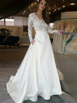 A-Line Floor-Length Long Sleeves Sweep/Brush Church Wedding Dress
