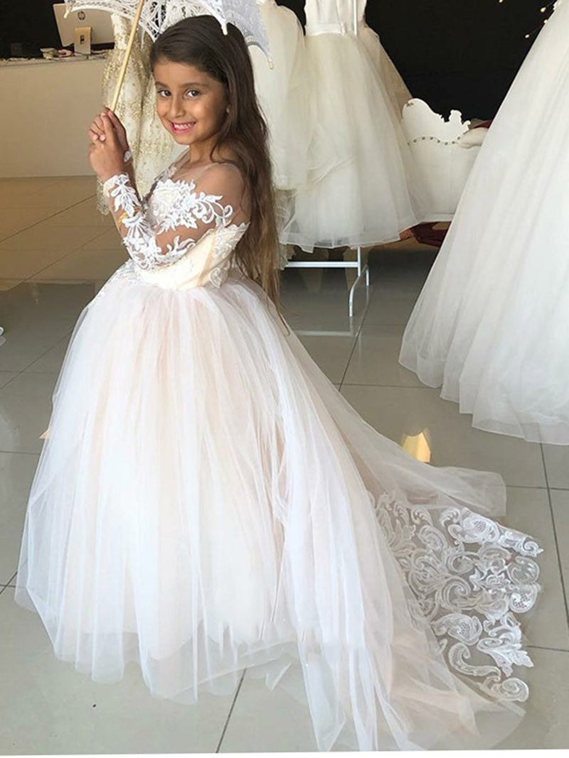 Appliques Floor-Length Long Sleeves Scoop Flower Girl Dress