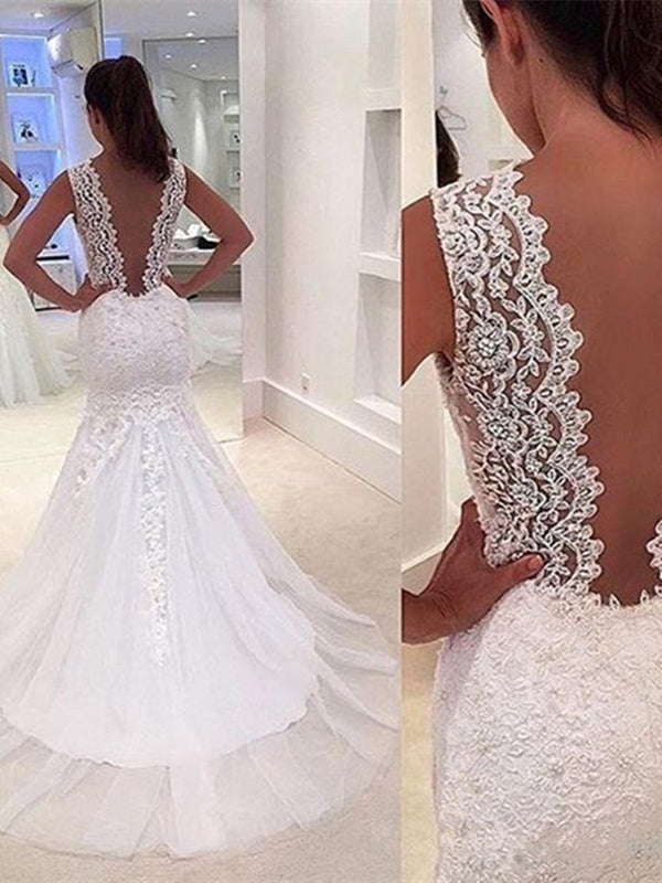 Trumpet/Mermaid Sleeveless Court Floor-Length Hall Wedding Dress