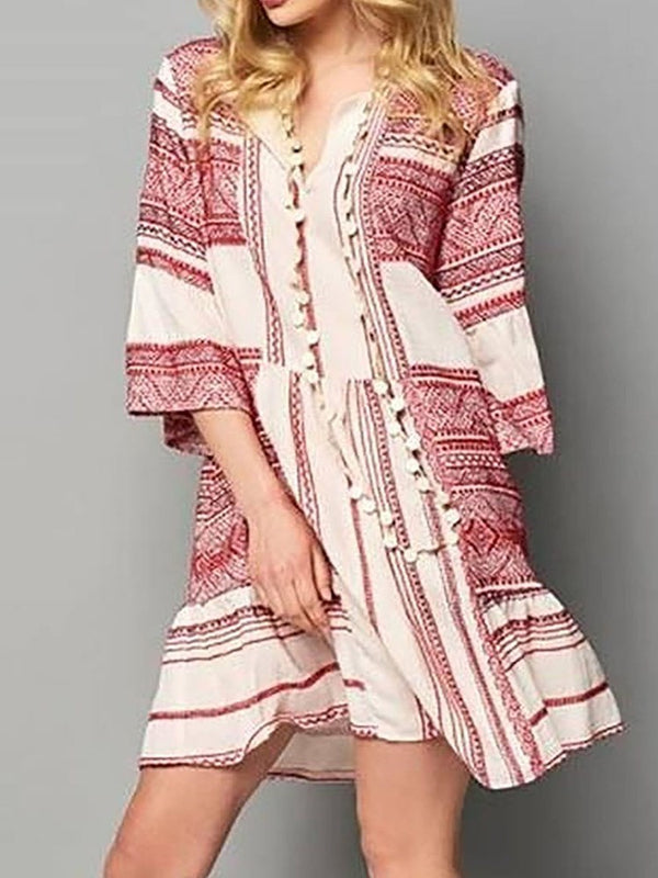 Three-Quarter Sleeve Patchwork V-Neck Travel Look Color Block Dress