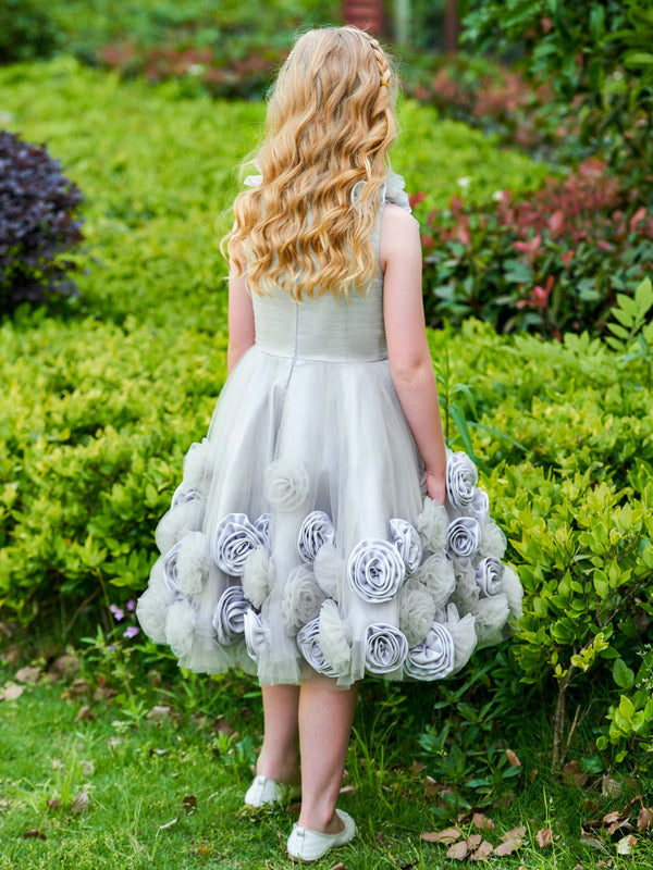 Knee-Length Ball Gown Flowers Scoop Flower Girl Dress