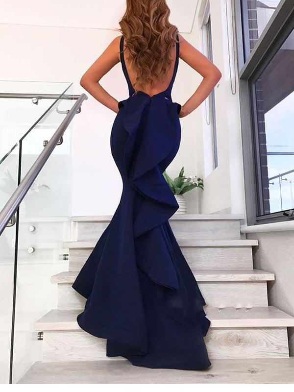 Straps Cascading Ruffles Sleeveless Floor-Length Evening Dress