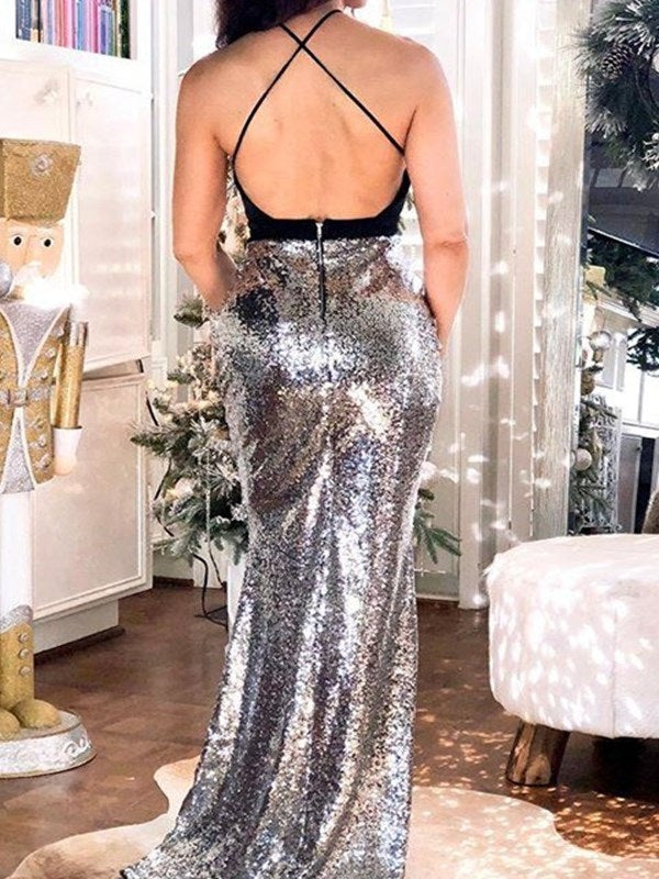 Sleeveless Trumpet/Mermaid Sequins Floor-Length Evening Dress
