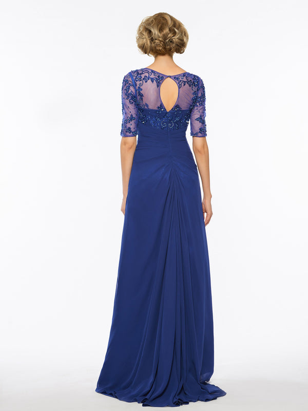 Half Sleeves Beading V-Neck A-Line Evening Dress