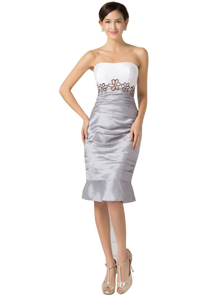 Half Sleeves Strapless Sheath/Column Appliques Formal Dress
