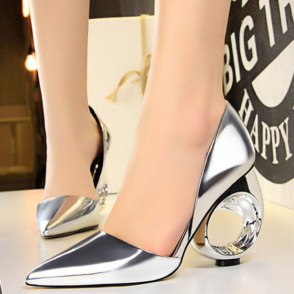 Pointed Toe Slip-On Hollow Heel Casual 10cm Thin Shoes