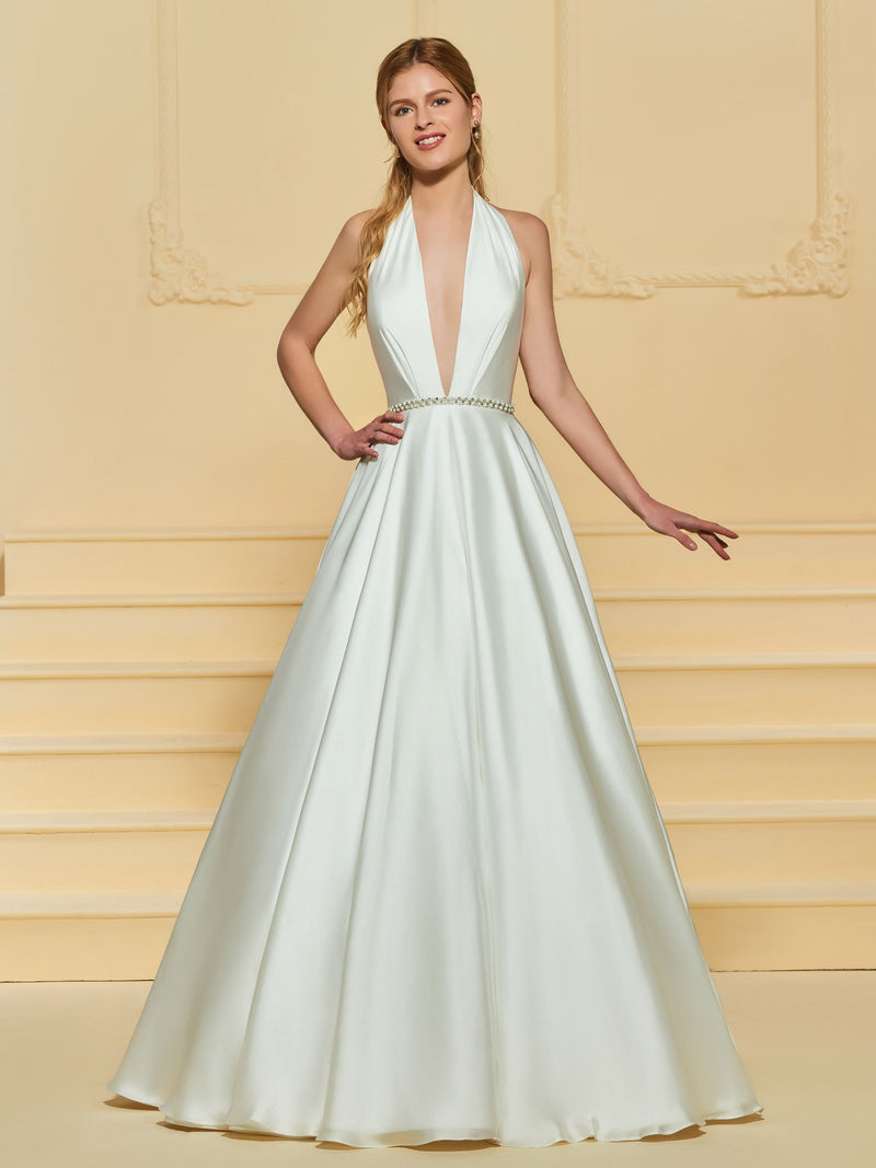 Sleeveless A-Line Beading Halter Garden/Outdoor Wedding Dress