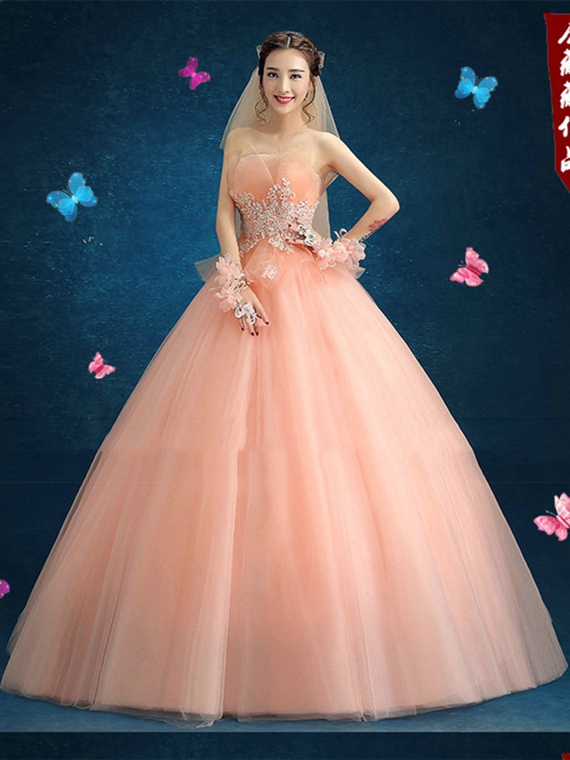 Sleeveless Beading Ball Gown Strapless Quinceanera Dress
