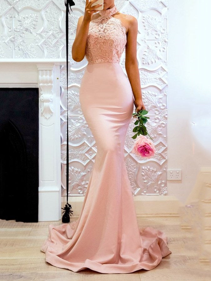 Appliques Trumpet/Mermaid Court Halter Evening Dress