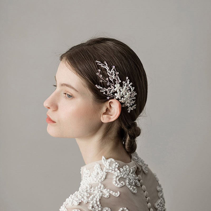Floral Hair Comb Korean Hair Accessories (Wedding)