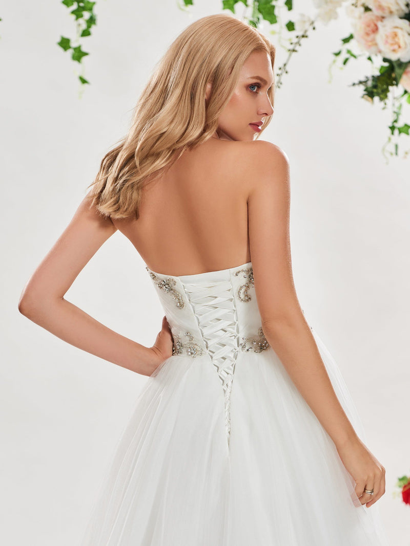 A-Line Court Sweetheart Beading Church Wedding Dress