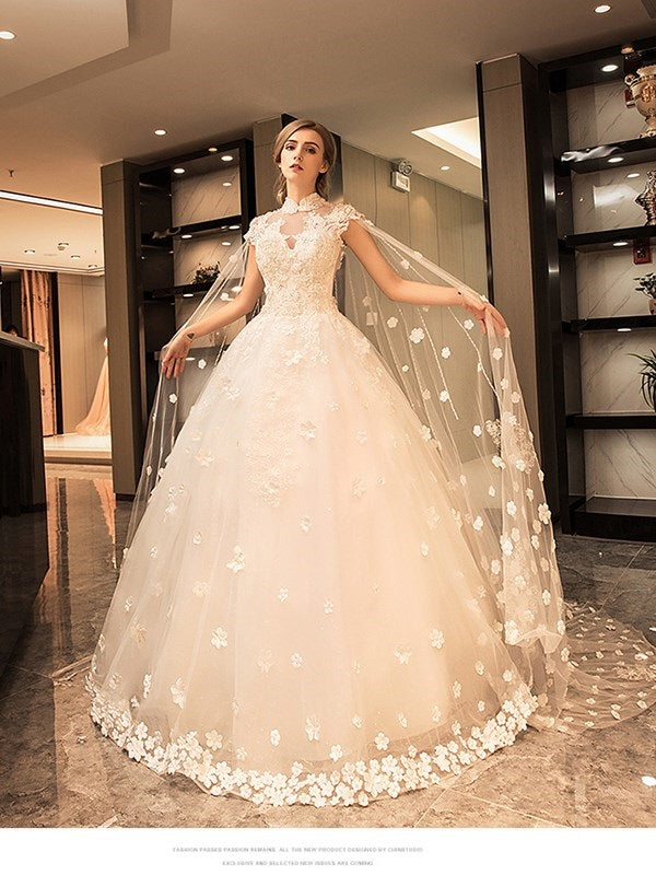 Floor-Length Ball Gown Lace Hall Wedding Dress