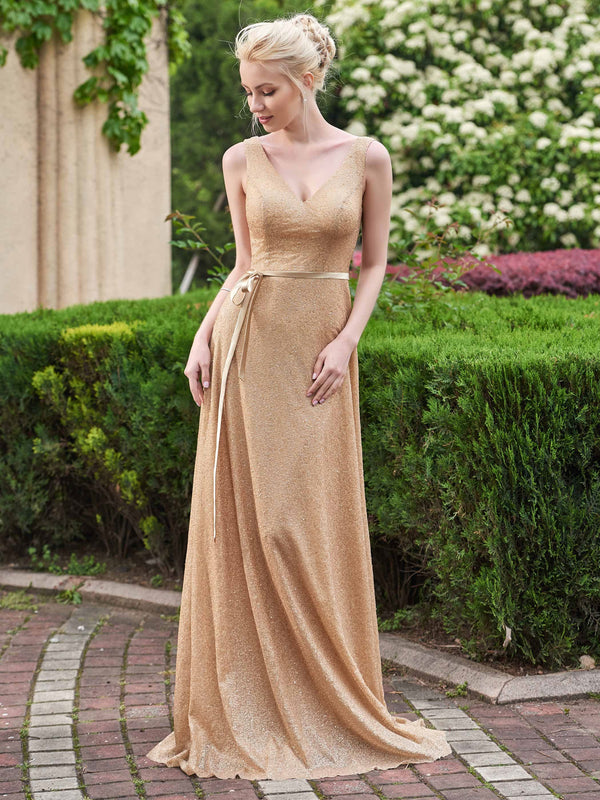Floor-Length Sashes/Ribbons Sleeveless Sweep/Brush Formal Dress