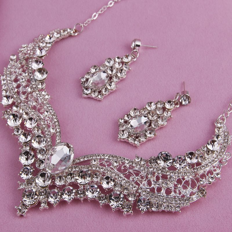 Plain Necklace E-Plating Gift Jewelry Sets