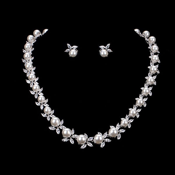 European Earrings Pearl Inlaid Jewelry Sets (Wedding)