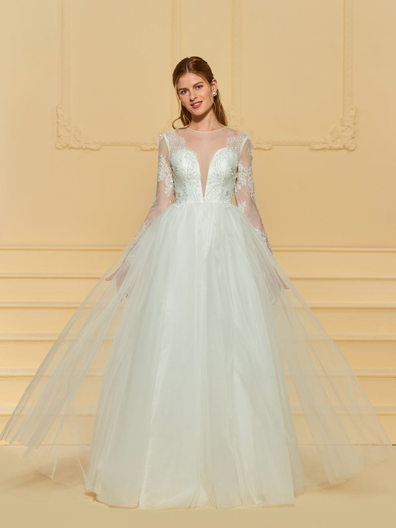 Button Scoop A-Line Floor-Length Church Wedding Dress