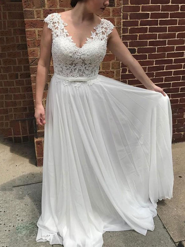 Floor-Length Lace V-Neck A-Line Beach Wedding Dress