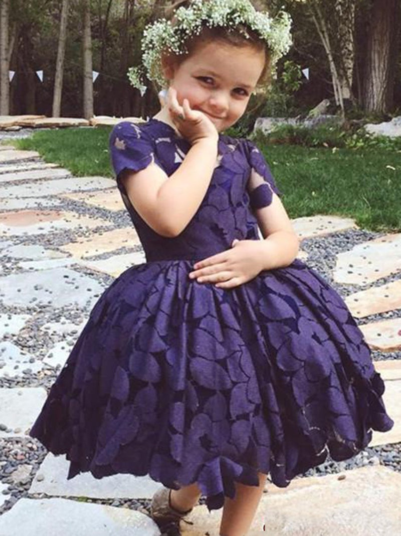 Knee-Length Lace Short Sleeves Ball Gown Flower Girl Dress