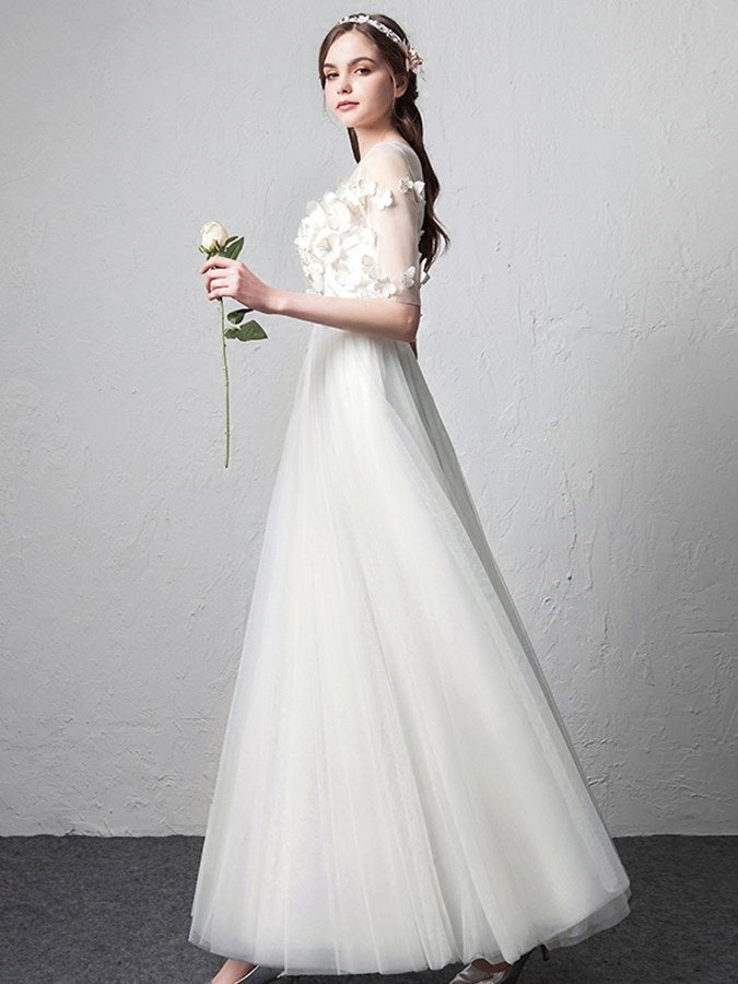 Half Sleeves Flowers A-Line Floor-Length Formal Dress