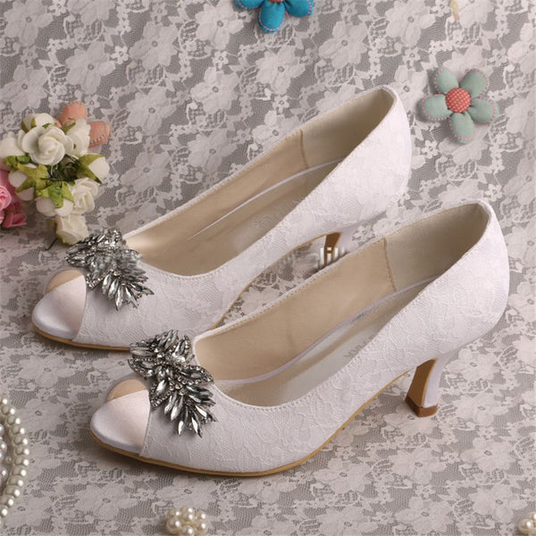 Stiletto Heel Slip-On Rhinestone Peep Toe Wedding High Heel Thin Shoes