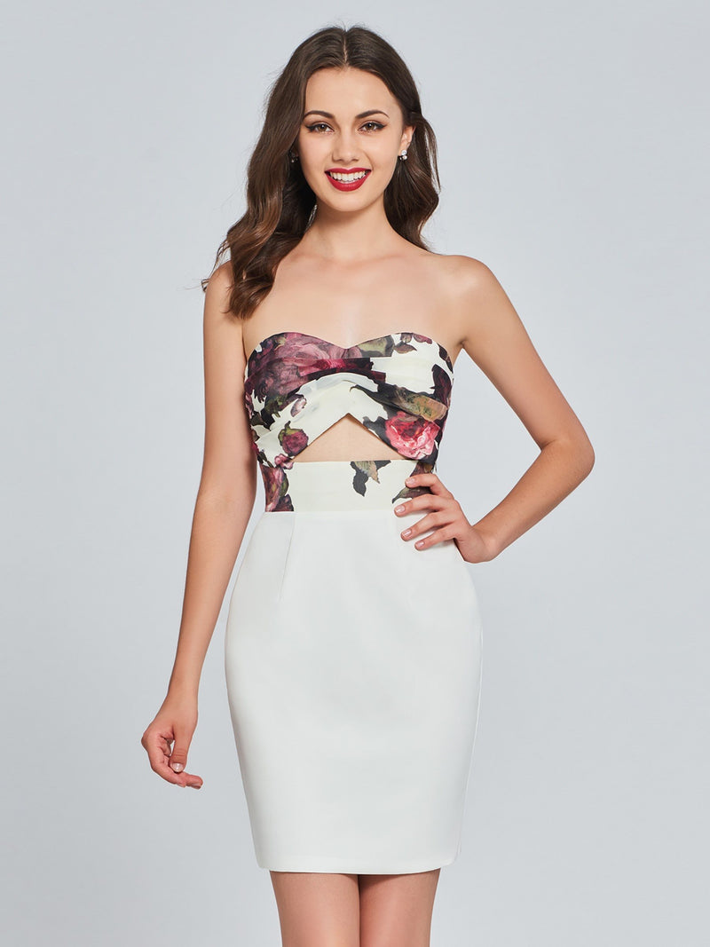 Sleeveless Sheath/Column Knee-Length Print Sweet 16 Dress