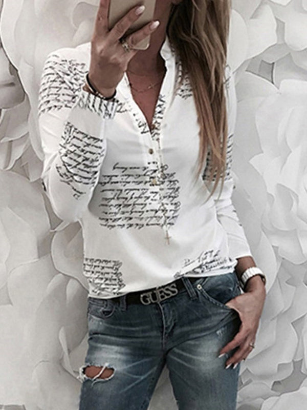 Print Letter Standard Long Sleeve Blouse