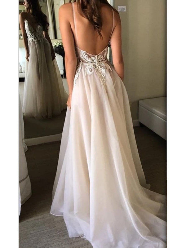 Sweep/Brush A-Line Spaghetti Straps Floor-Length Beach Wedding Dress