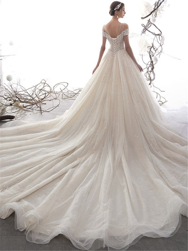 Floor-Length Ball Gown Short Sleeves Appliques Hall Wedding Dress