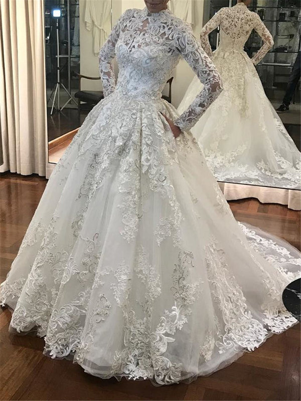 Ball Gown Floor-Length Long Sleeves High Neck Garden/Outdoor Wedding Dress