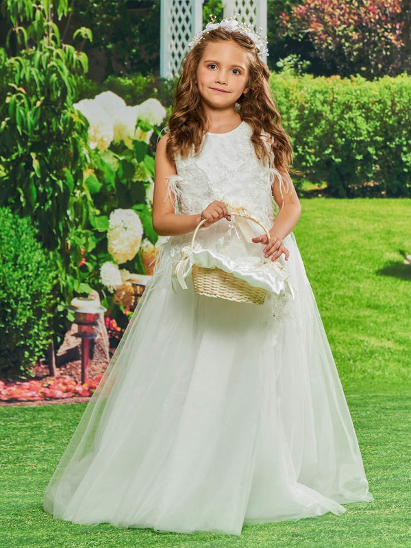 Sleeveless Beading Scoop Fall Flower Girl Dress