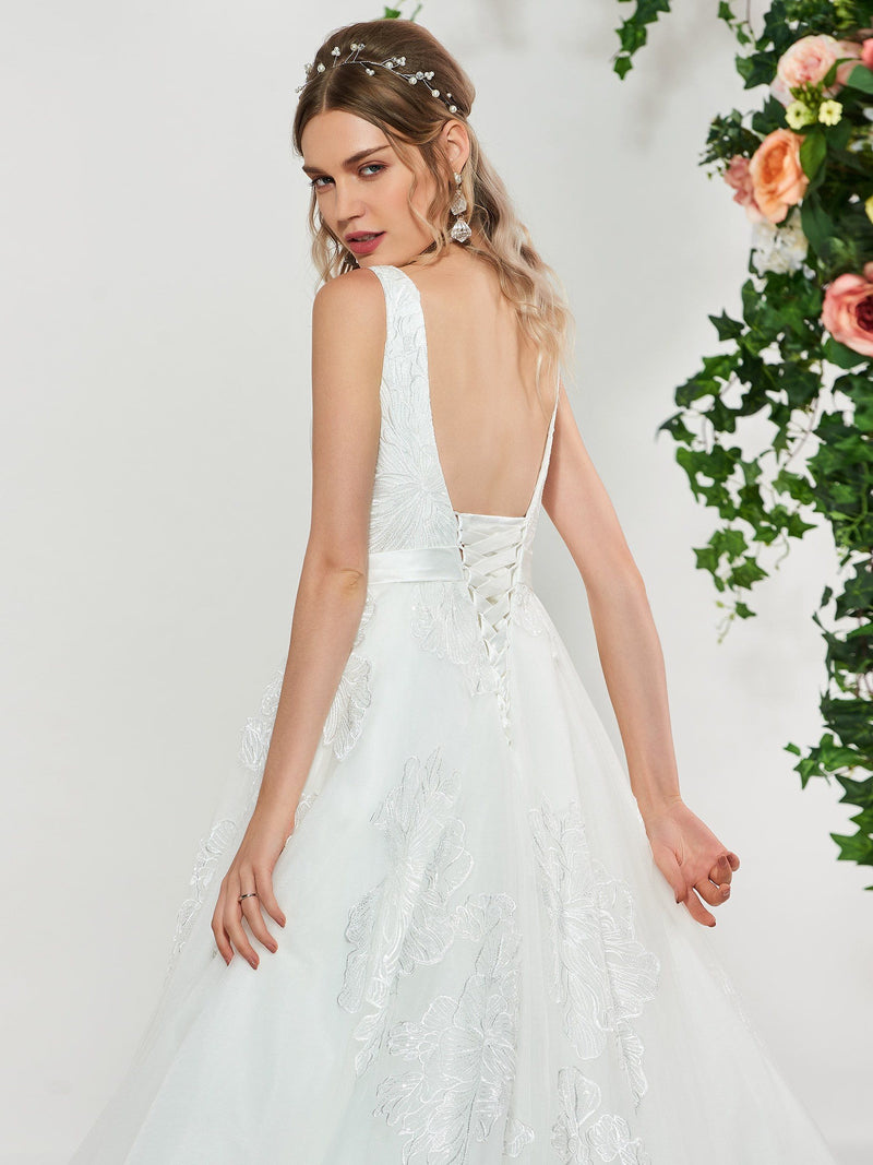 Square Floor-Length Sleeveless Sweep/Brush Hall Wedding Dress